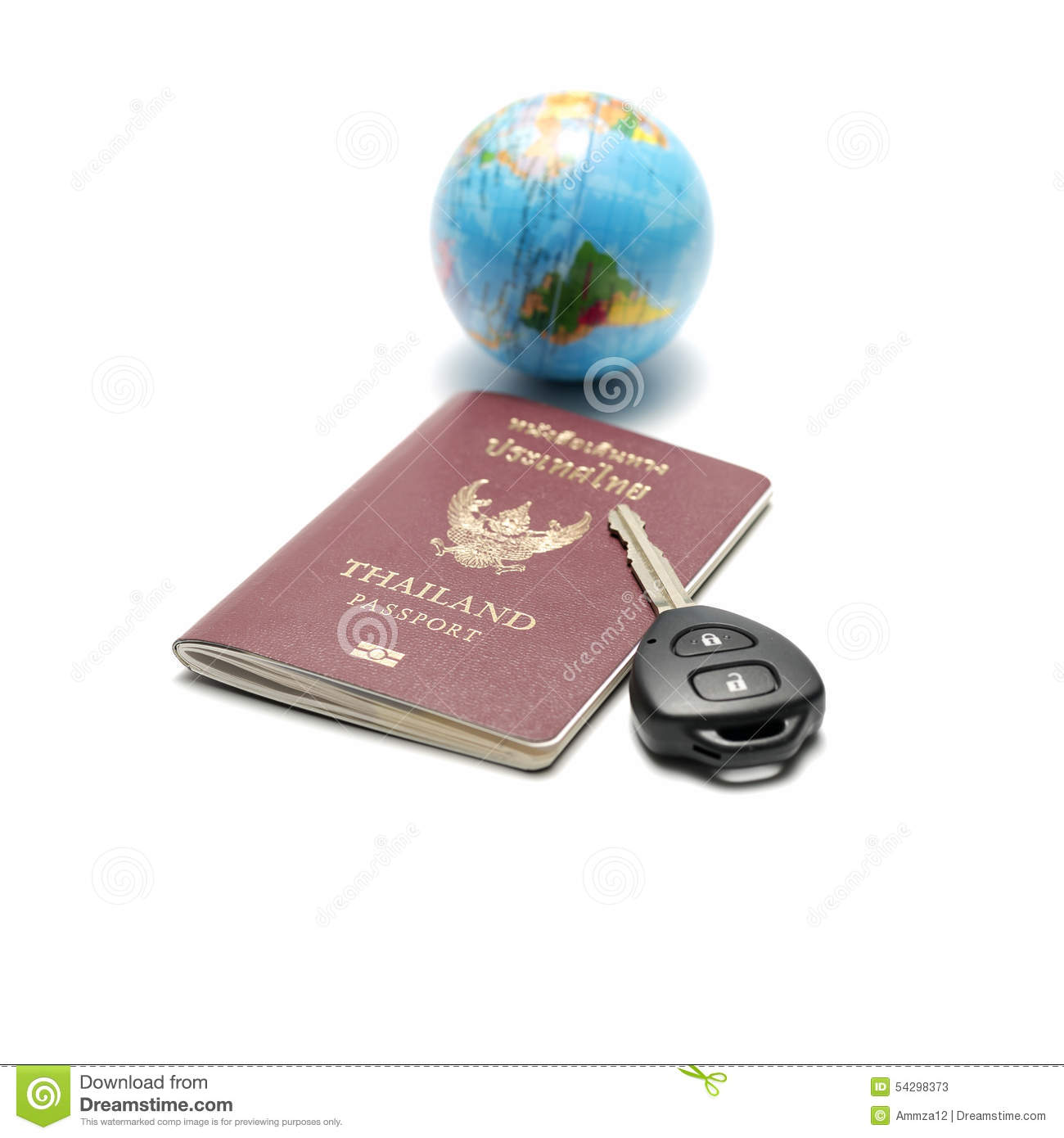 Passport Car Key And Earth Ball Royalty-Free Stock