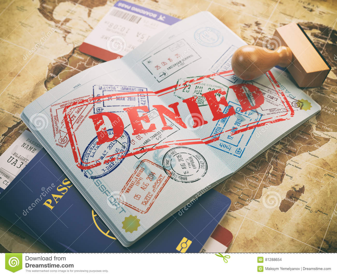 Download Passport With Denied Visa Stamp On The Map Of The World And Airl Stock Illustration - Illustration of fail, immigration: 81288654