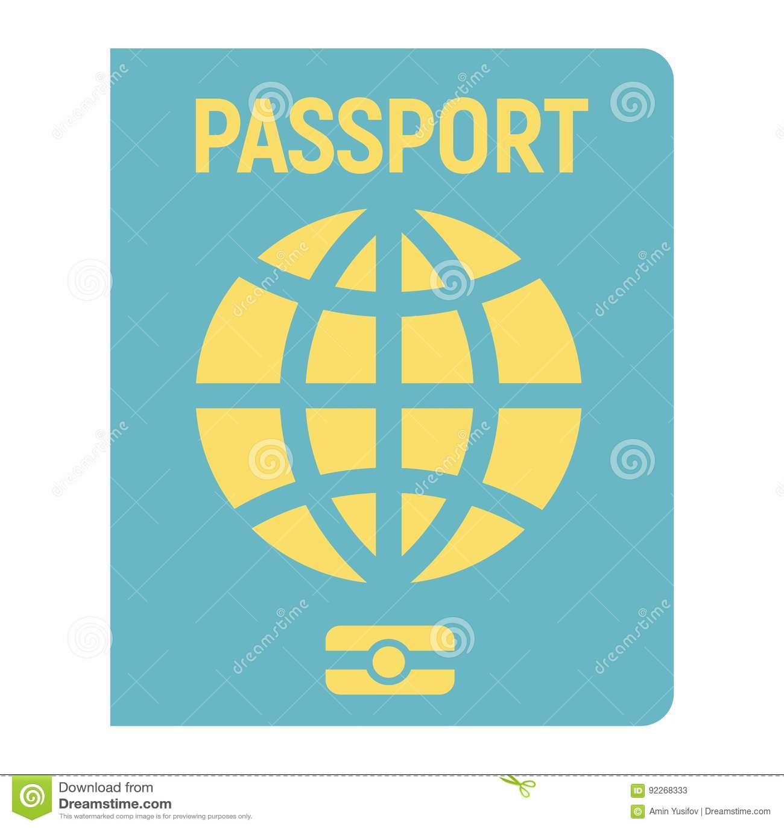 Passport flat icon, travel and citizenship