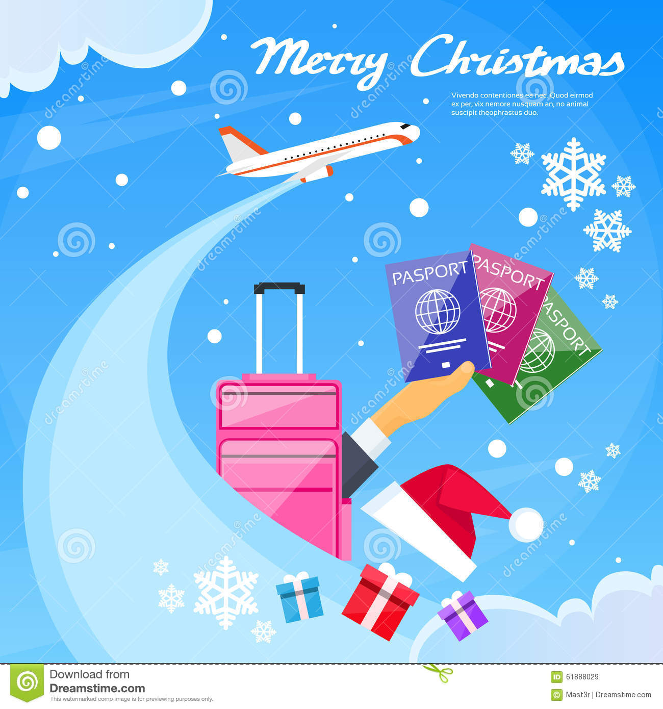 Easy Year To Travel On Christmas: Passport Icon Hand Hold Travel Document New Year Stock
