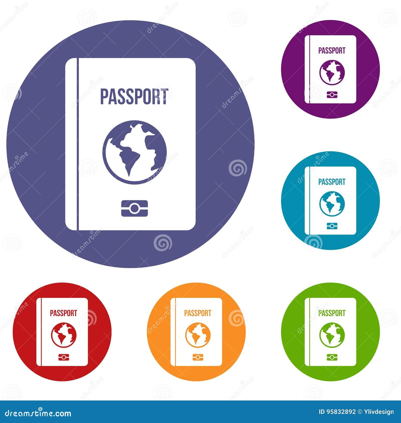 Passport icons set