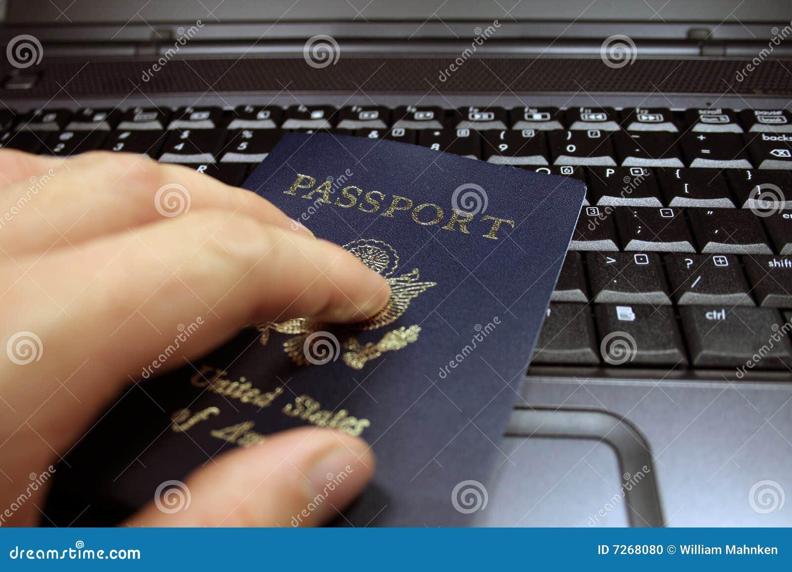 Passport on Laptop