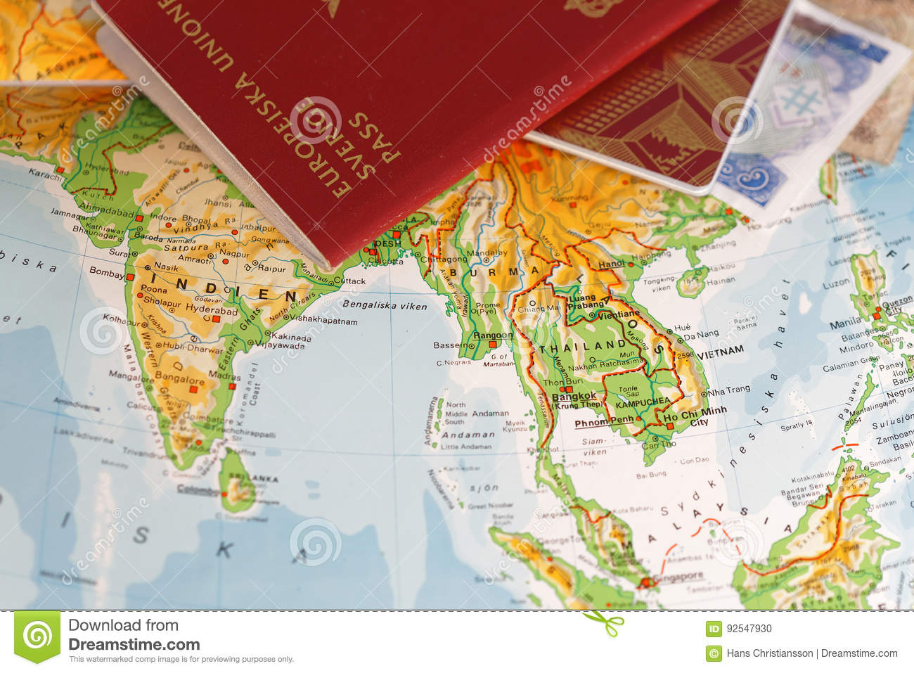 Passport And On A Map Of Asia Including India, Thailand ...