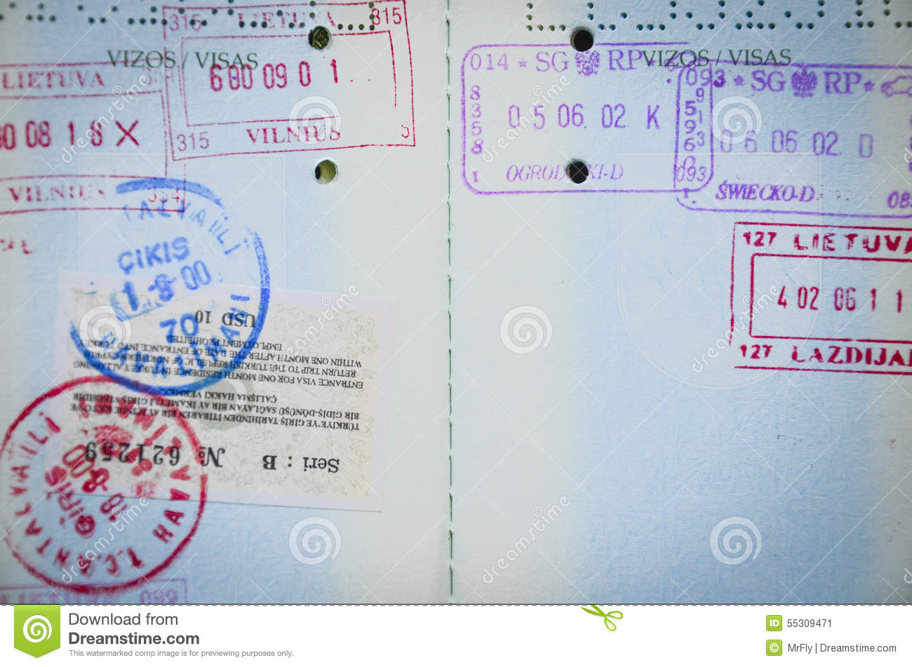 passport pages stock photo image 55309471