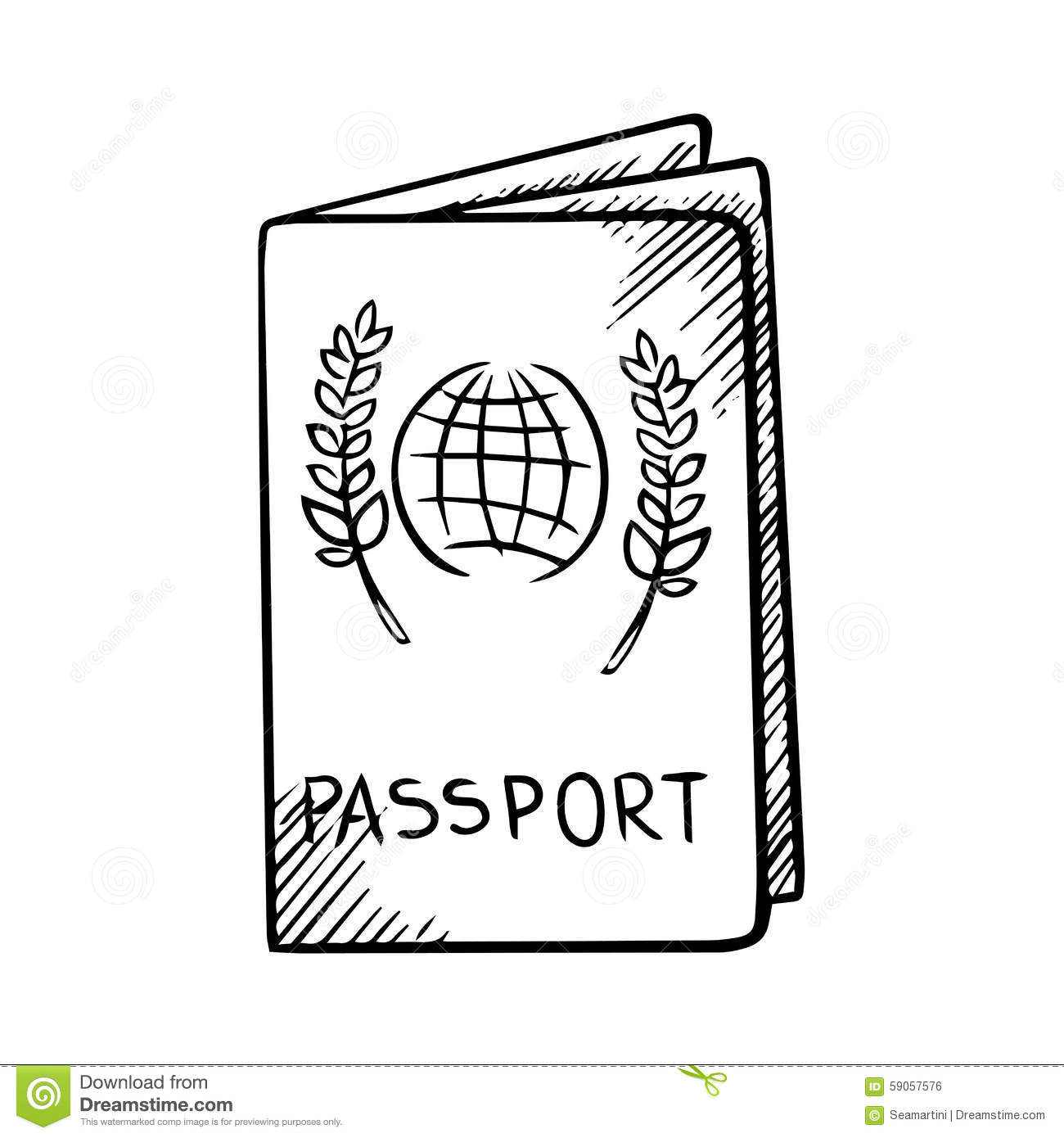 Passport Sketch With Globe On Cover Stock Vector ...