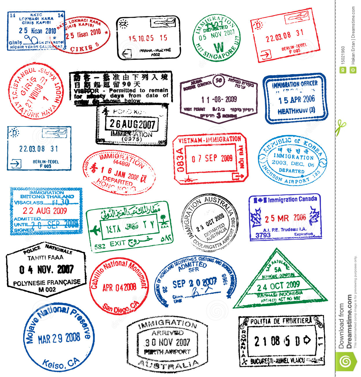 High Detail Illustration Of Passport Stamps Royalty Free