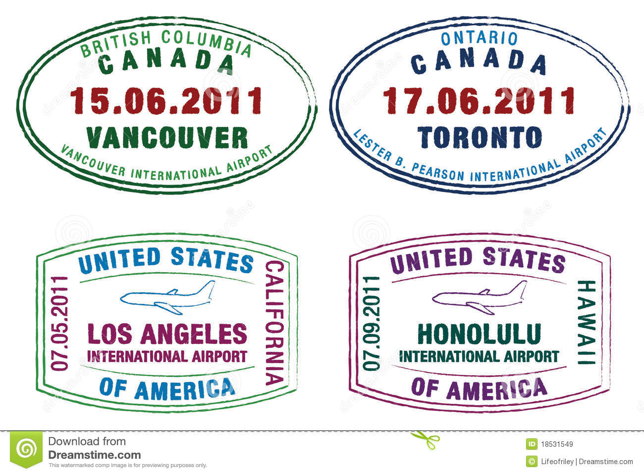 Passport Stamps Of The US And Canada In Format