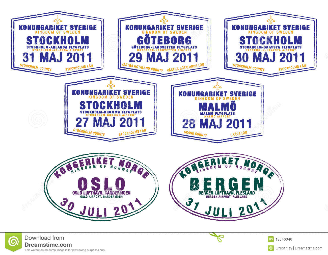 Passport Stamps From Sweden And Norway In Format
