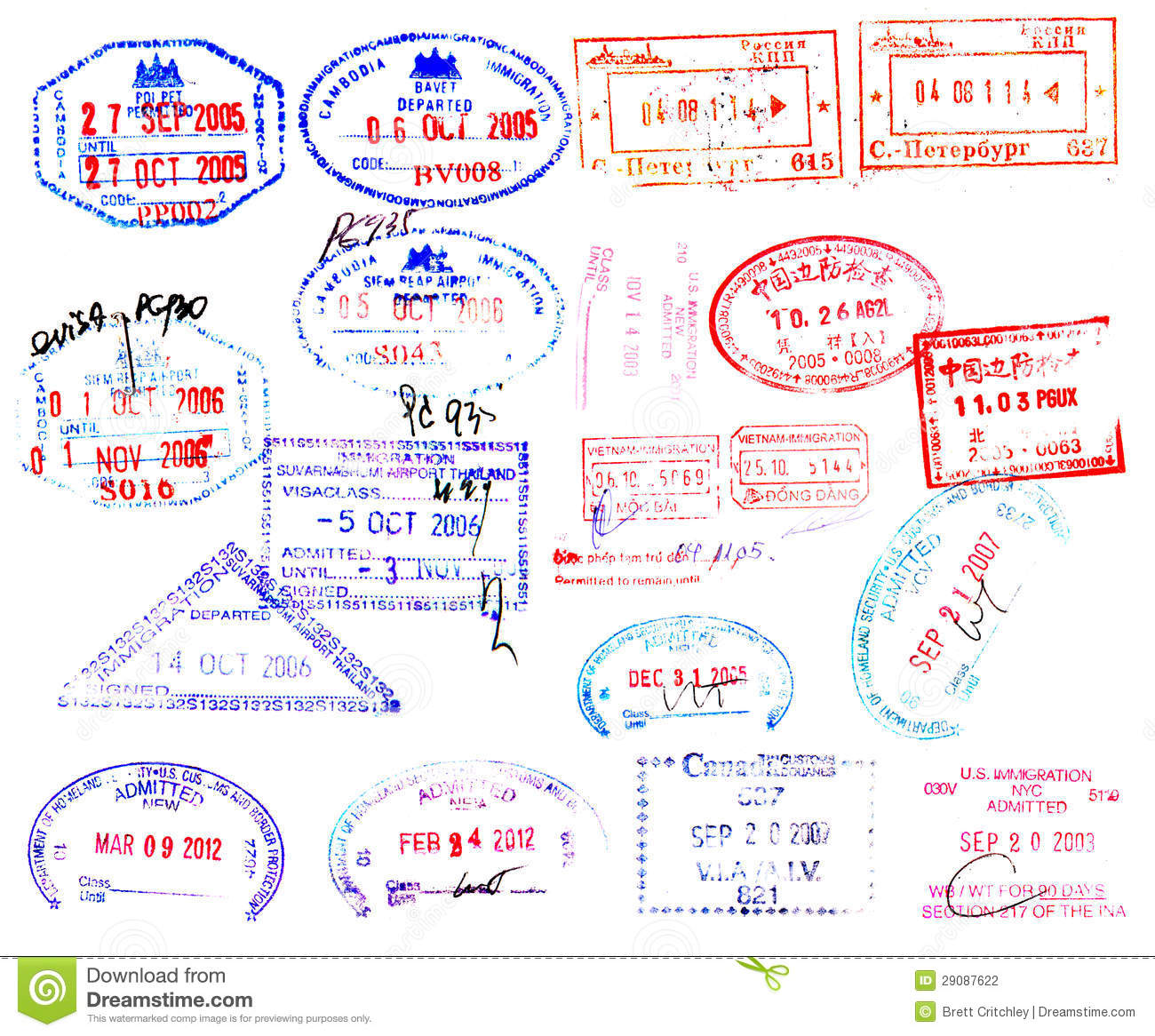 Passport Stamps Stock Photography - Image: 29087622