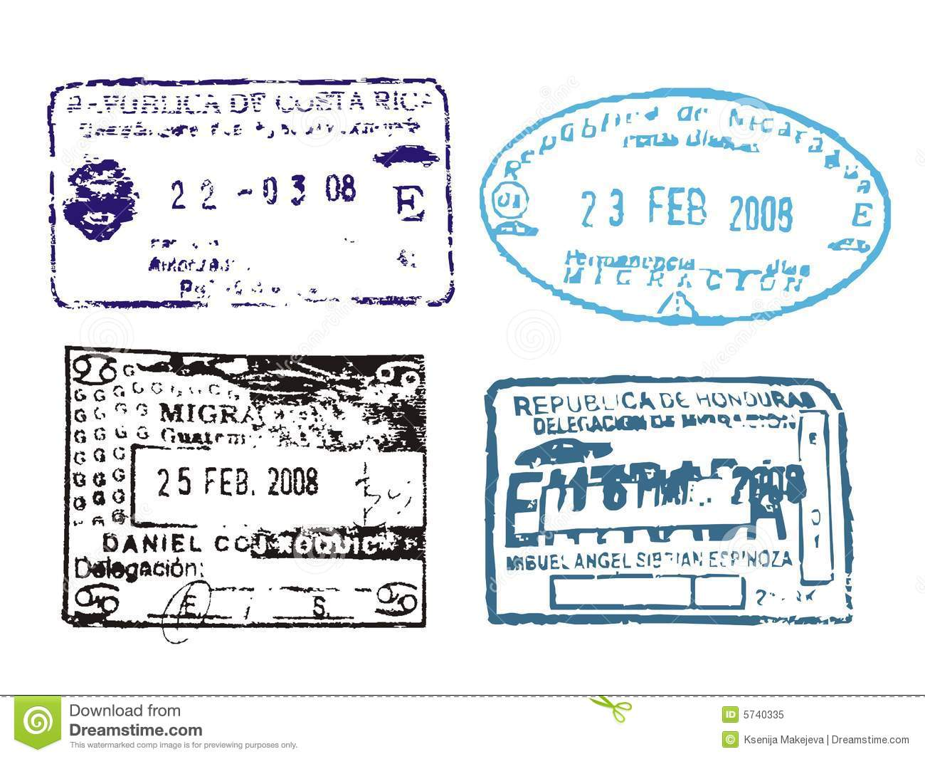 Passport Stamps Stock Vector Image Of Arrival Guatemala 5740335