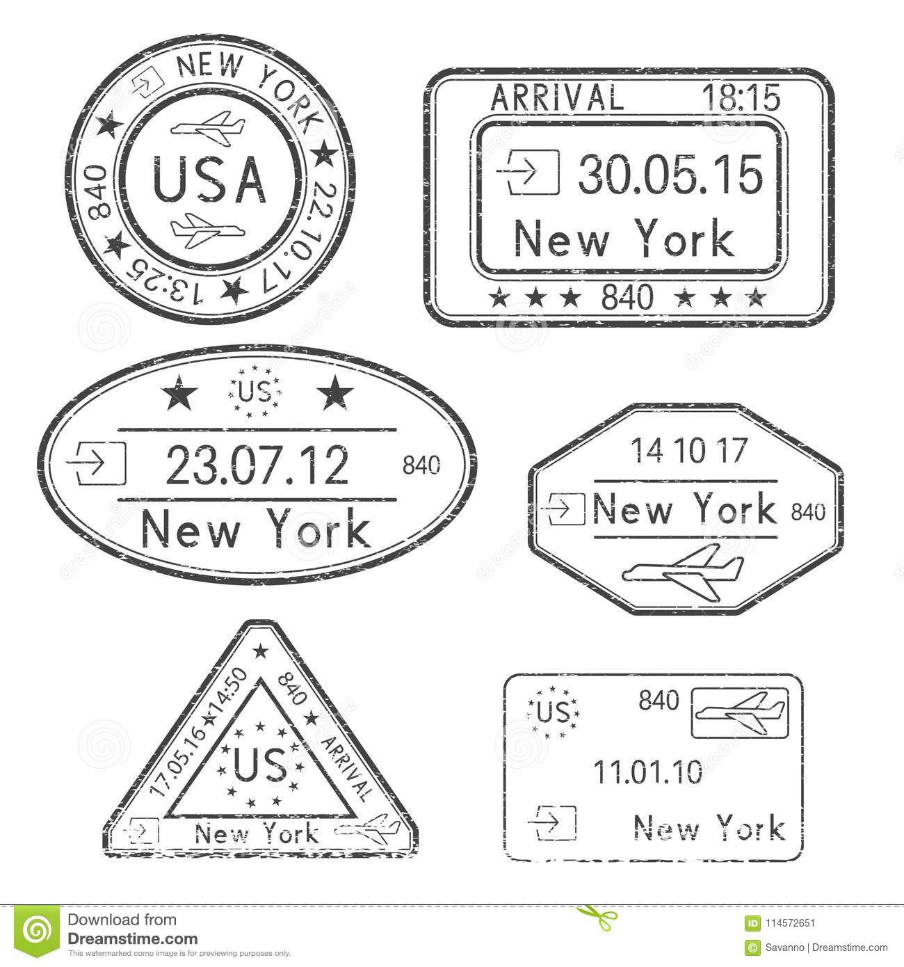 Passport Stamps Arrival To New York USA Black Set Of Ink