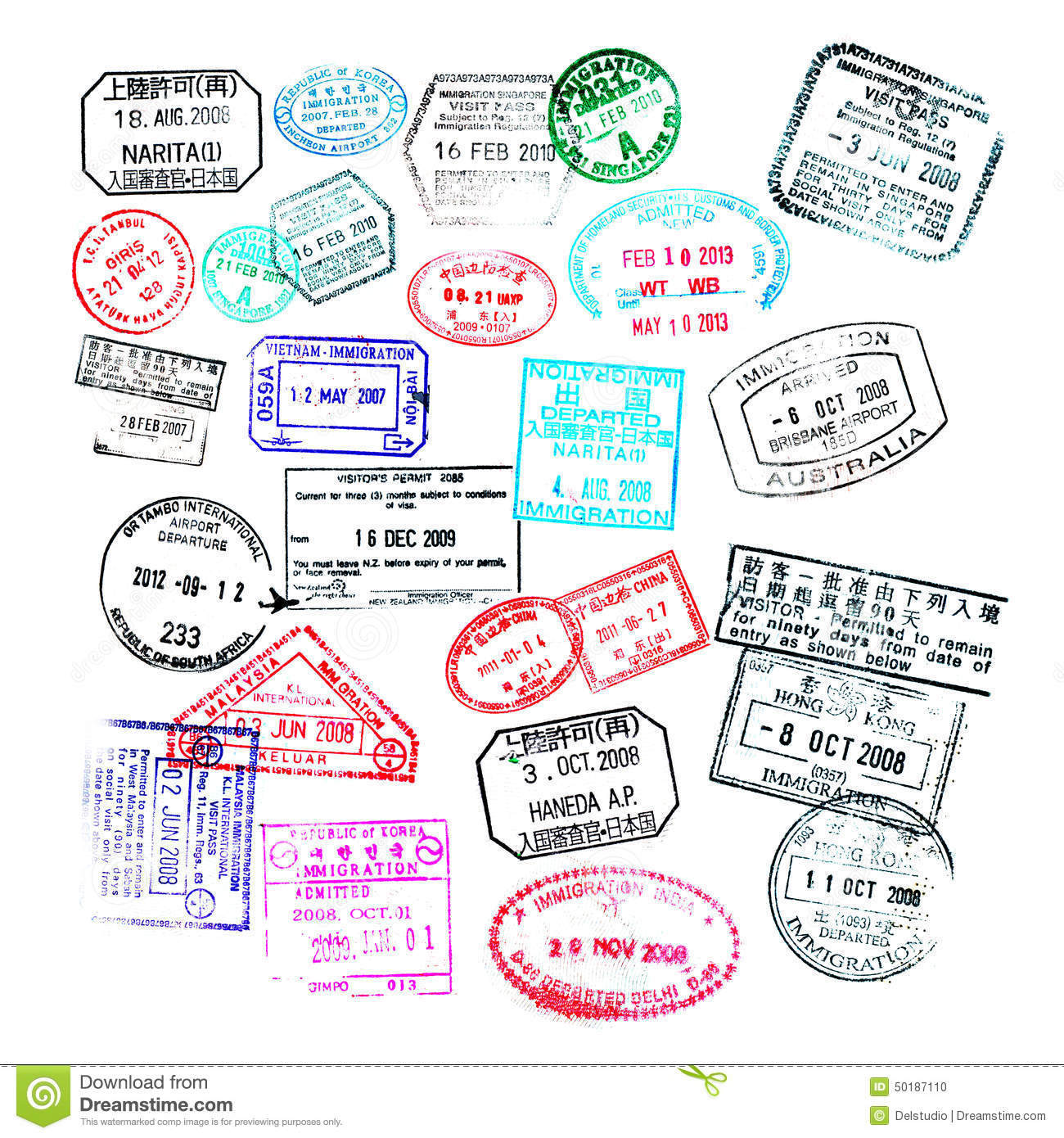 Passport stamps isolated on white