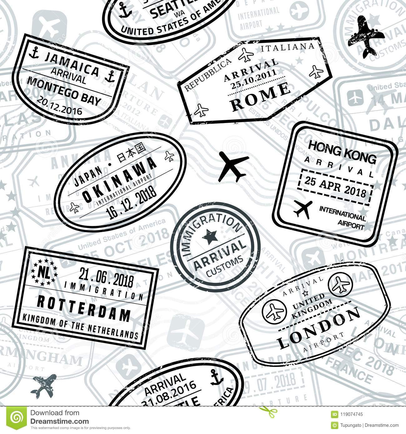 Passport Stamps Vector Seamless Pattern
