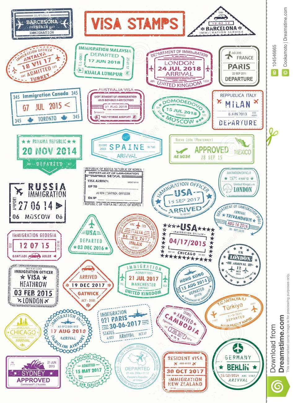 Passport stamps or visa pages for traveling abroad stock vector for visa or passport travel and tourism document germany and india russia and spain france and turkey australia and uk panama and malaysia italy thecheapjerseys Image collections