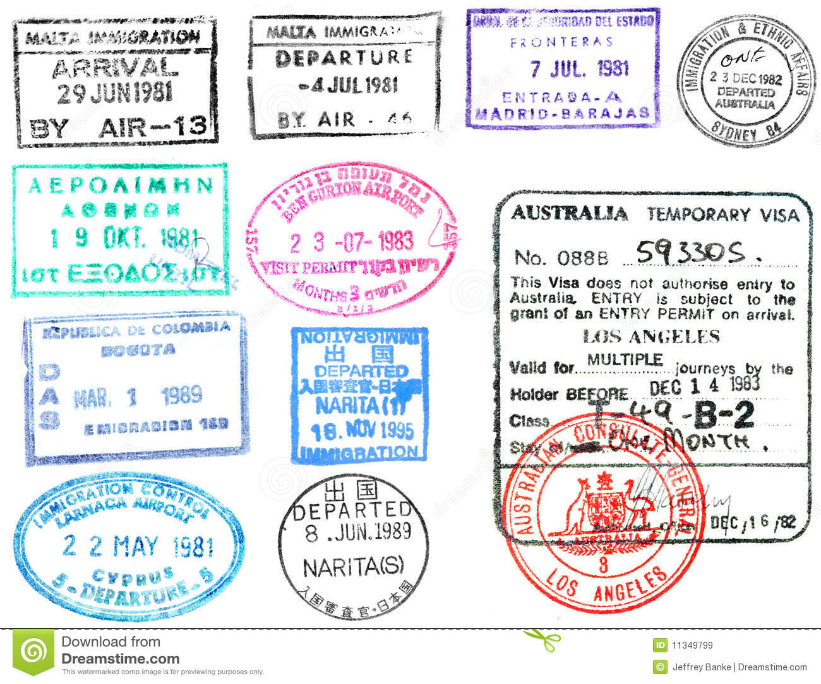 Passport stamps and visa s