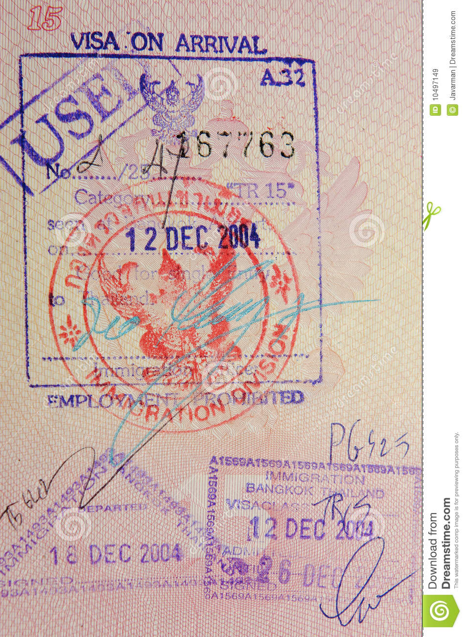 Passport With Thai Visa And Stamps Royalty Free Stock