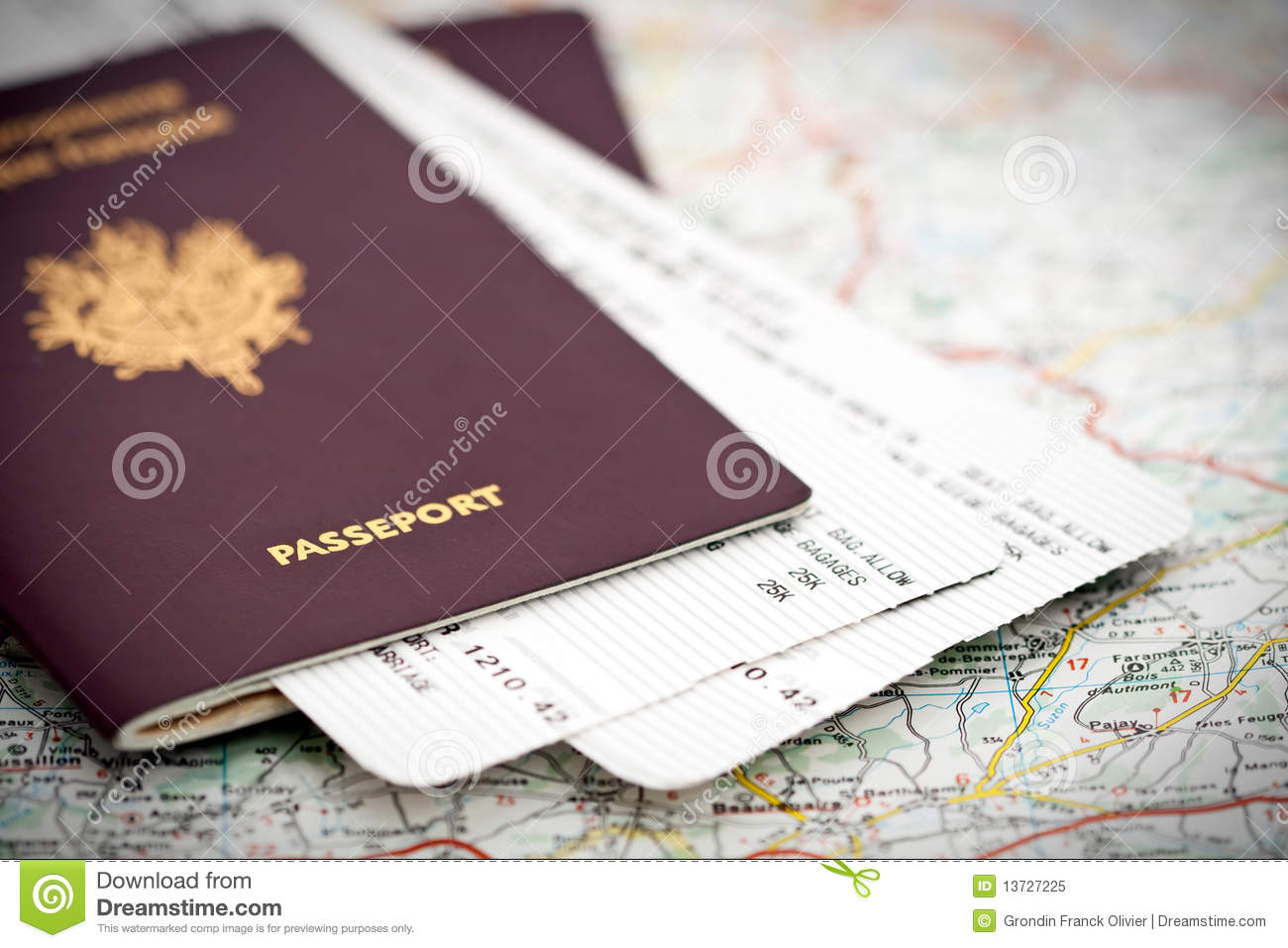 Passport and tickets on map