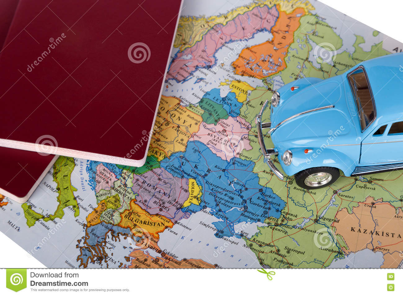 Passport toy car and world map stock photo image of automobile download comp gumiabroncs Choice Image