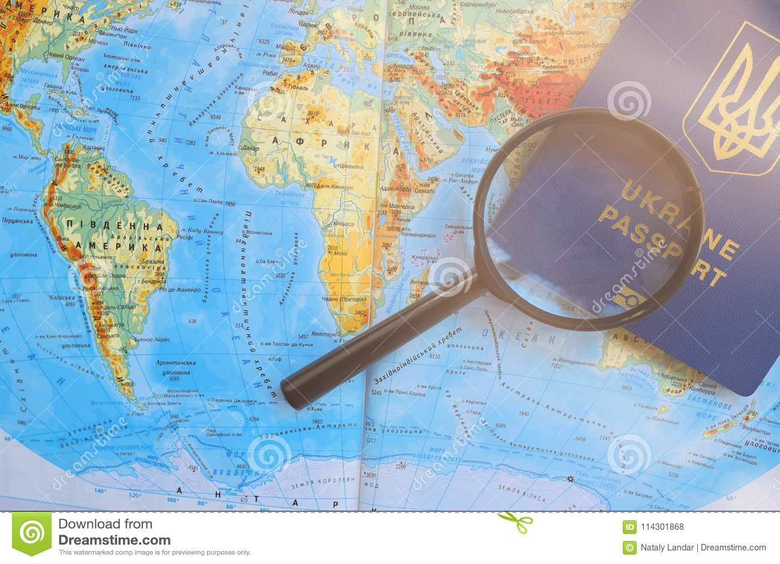 Passport On A Travel Worldwide Map. Planning Vacation. Stock Photo ...