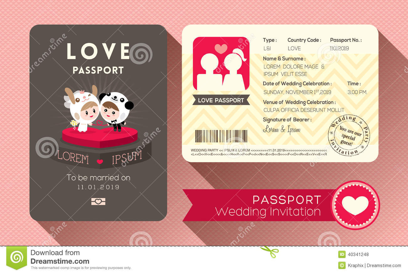 Passport Wedding Invitation Stock Vector Illustration of creative