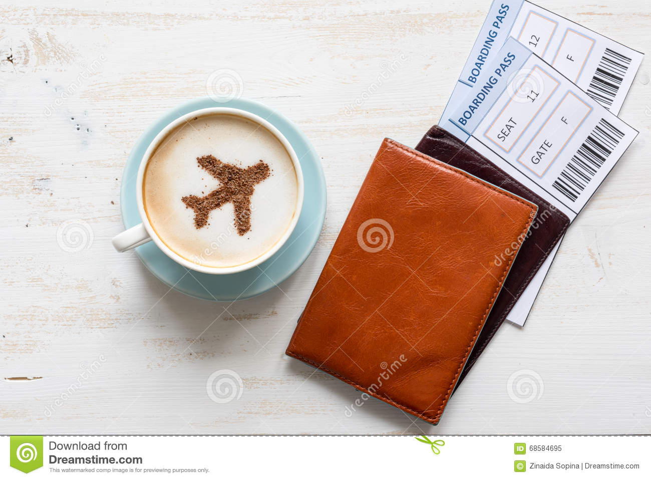Passports, Boarding Pass And Cup Of Coffee (airplane Made Of