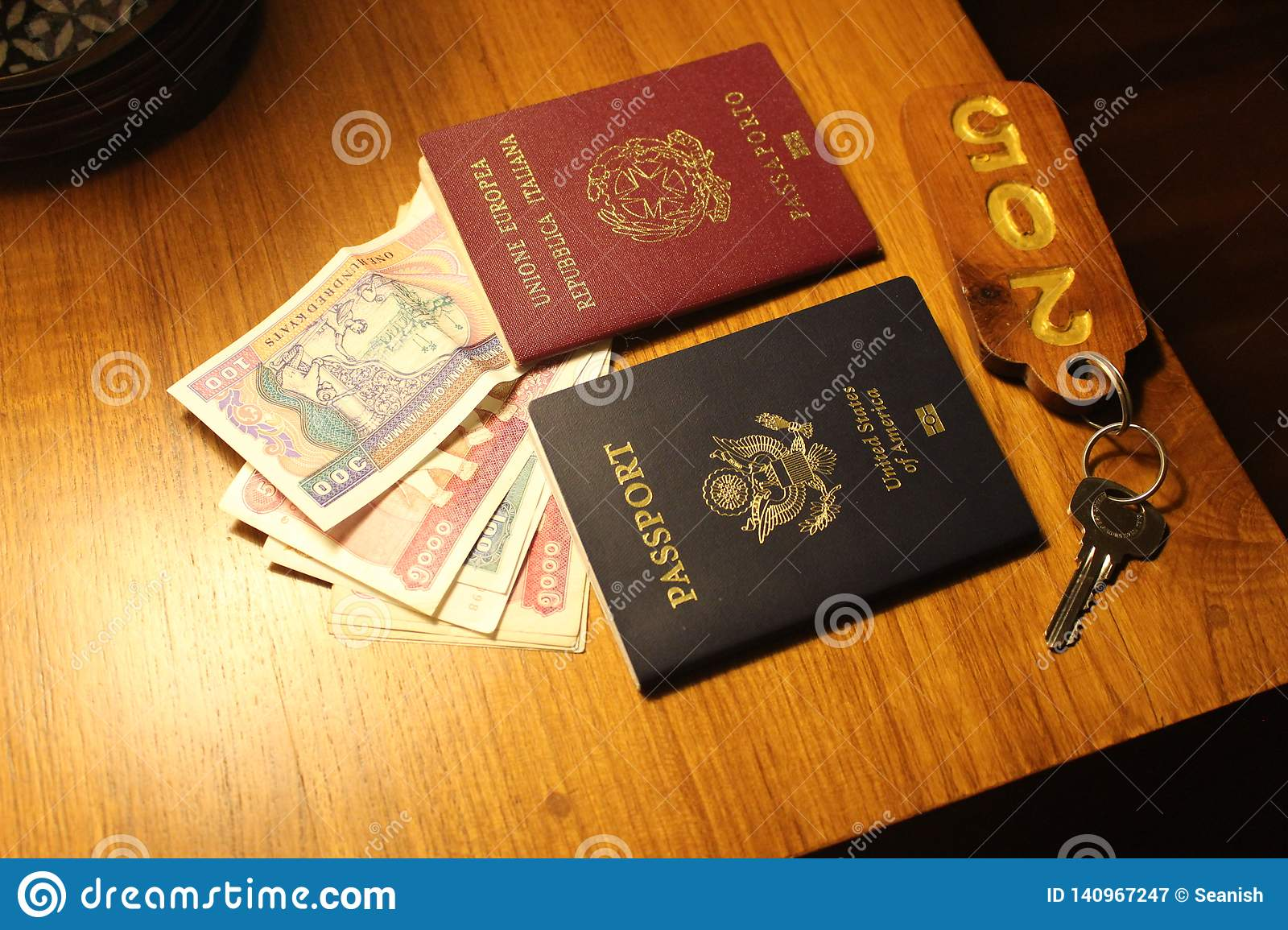 Passports On A Table In Myanmar Stock Image - Image of ...