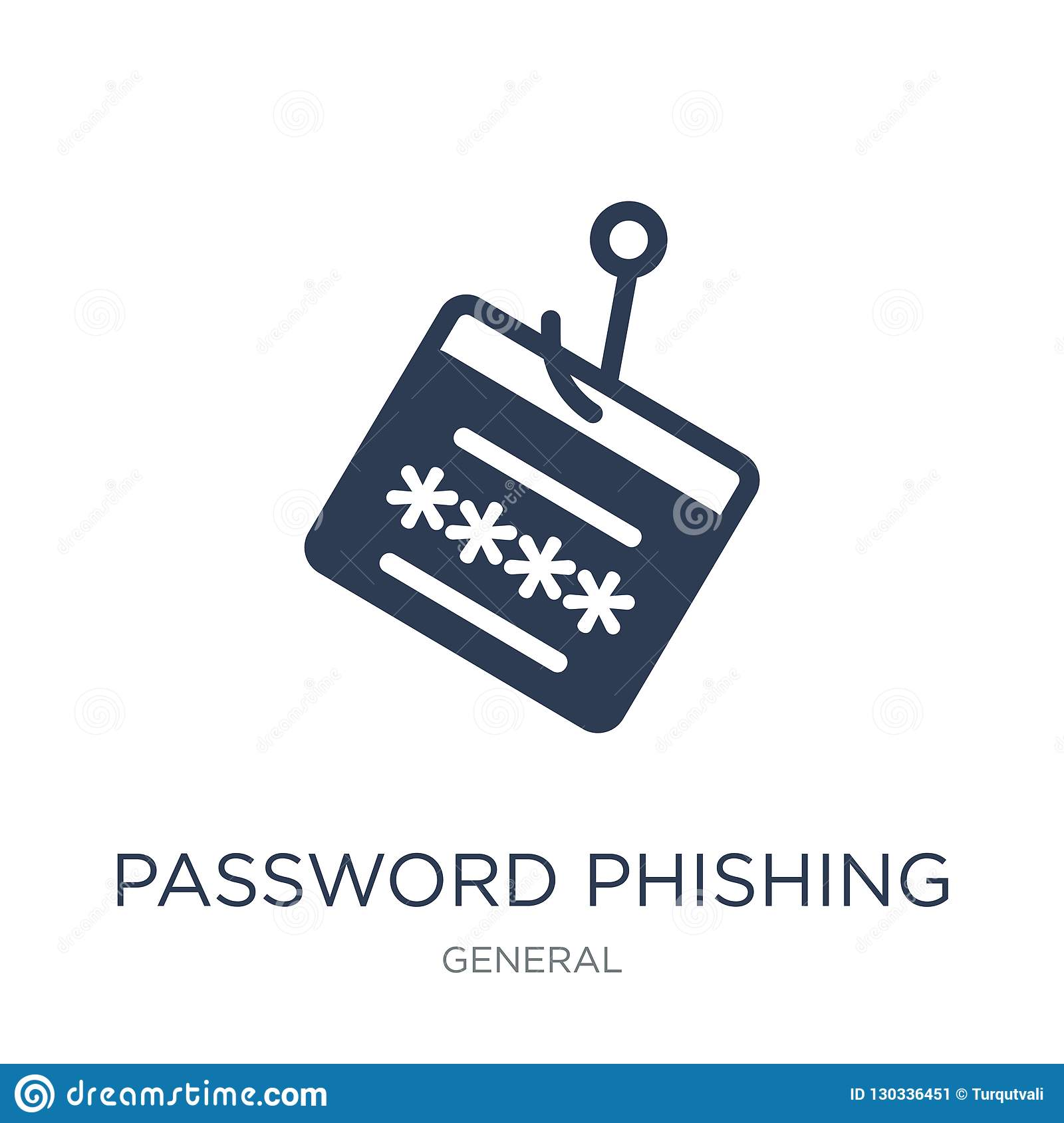 password phishing icon. Trendy flat vector password phishing icon on white background from General collection