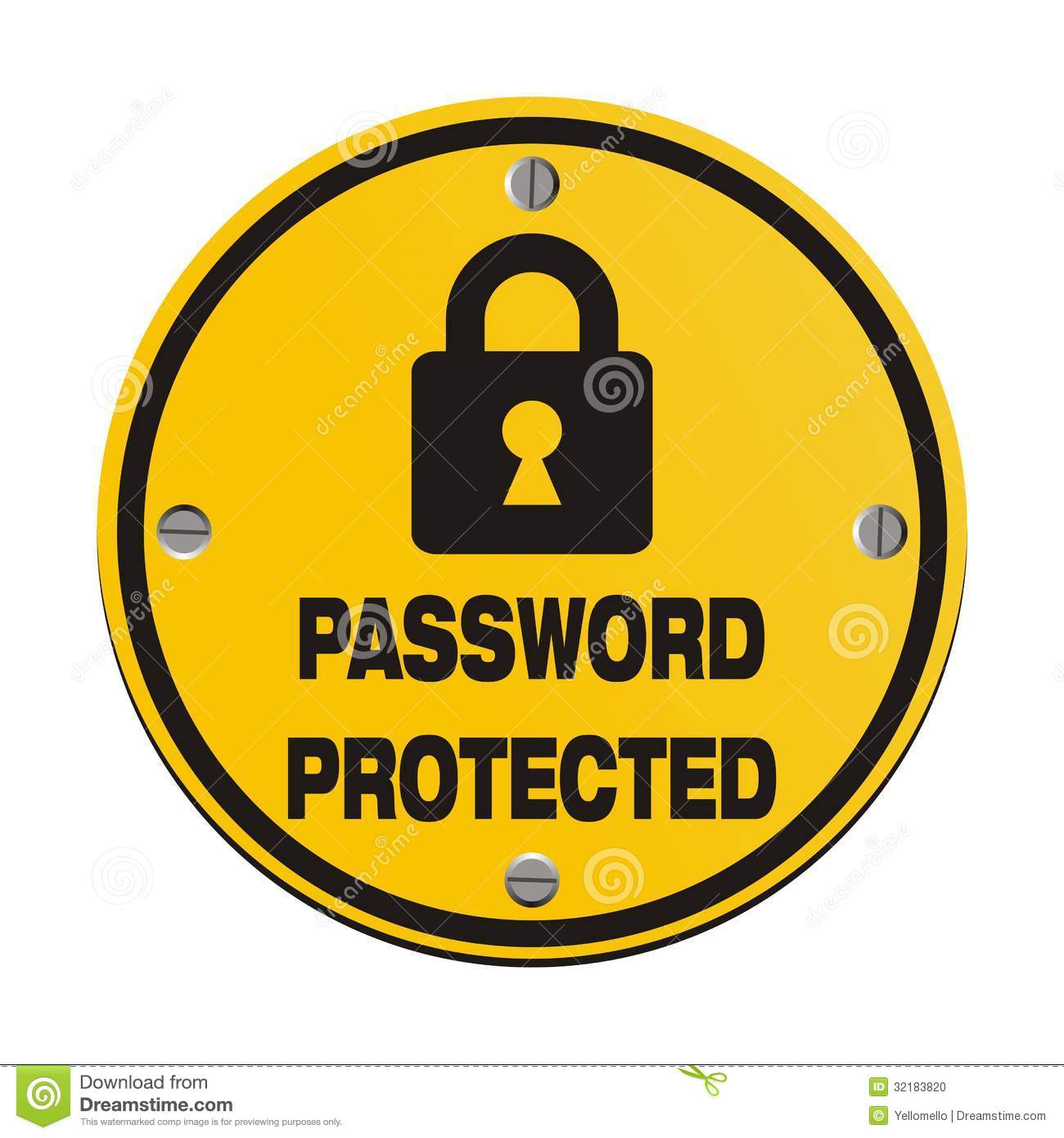 Password Protected - Circle Signs Stock Photo - Image: 32183820