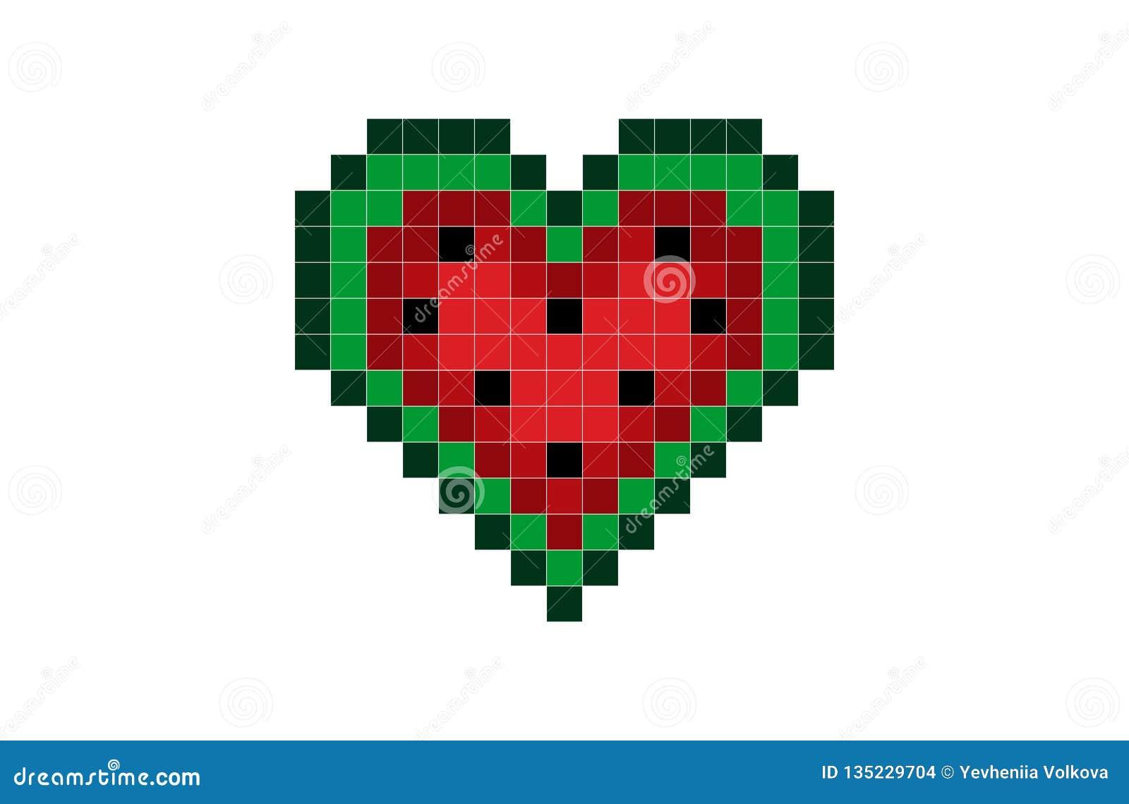 Pasteque De Coeur De Pixel Illustration De Vecteur Illustration Du Valentines 135229704