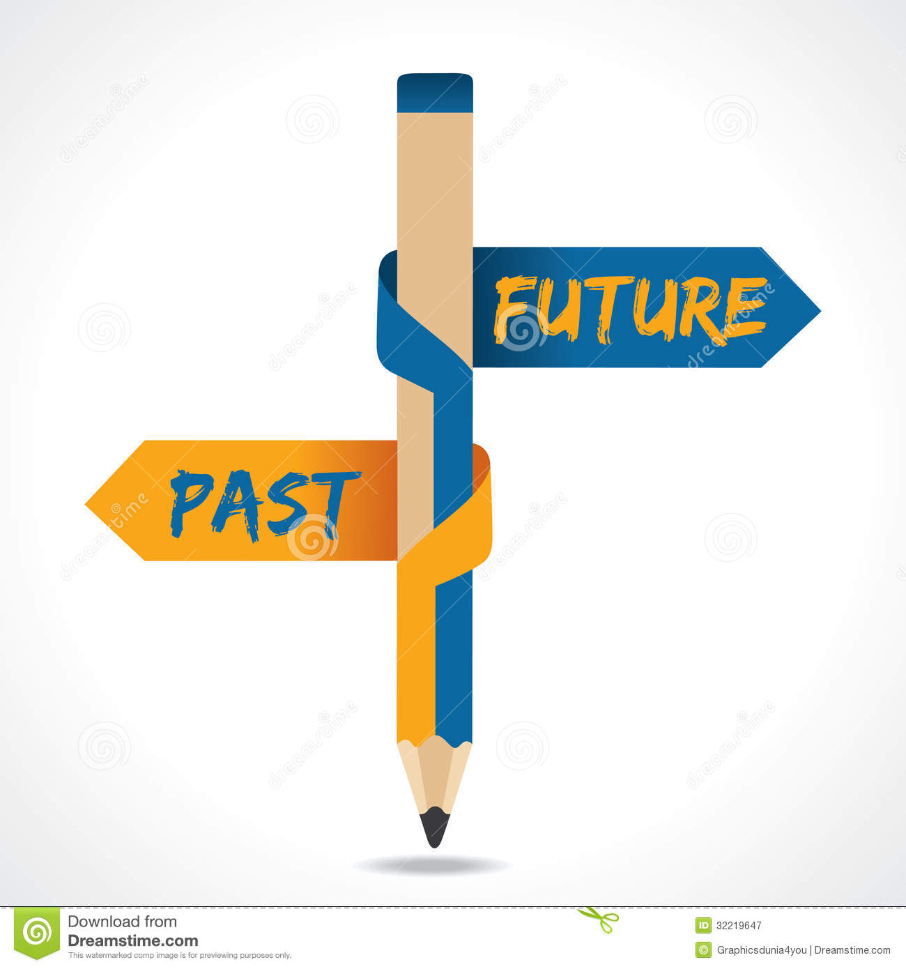 PAST & FUTURE Arrow In Opposite Of Pencil Royalty Free Stock ...
