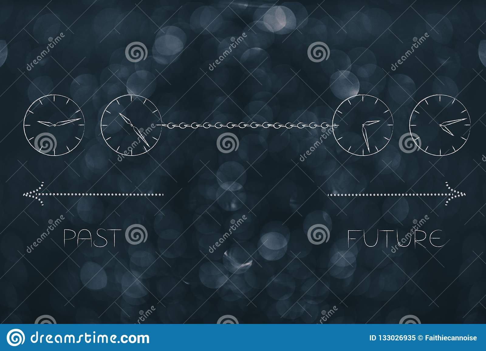 Past And Future Linked With A Chain With Clocks And Timeline