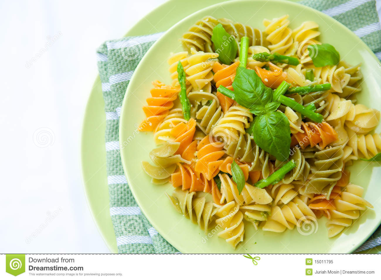Pasta With Asparagus, Rocket Pesto And Basil Royalty Free Stock Photo ...