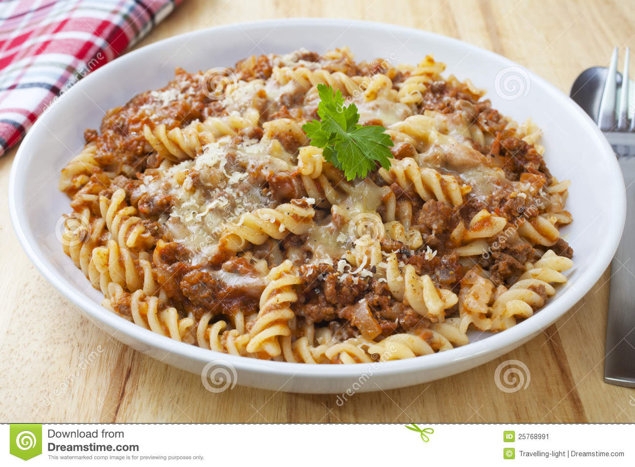 Fusili pasta baked with bolognese sauce, mozzarella and parmesan.