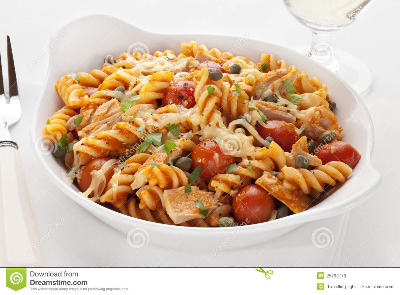 Fusili pasta baked with tuna, cherry tomatoes, marinara, capers and ...