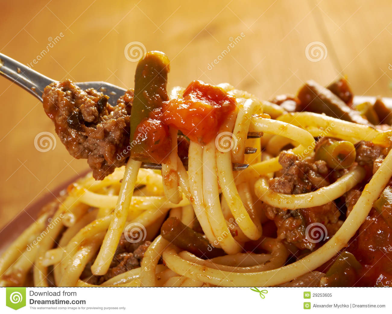 Pasta With Beef Tomato Sauce Royalty Free Stock Photo - Image ...