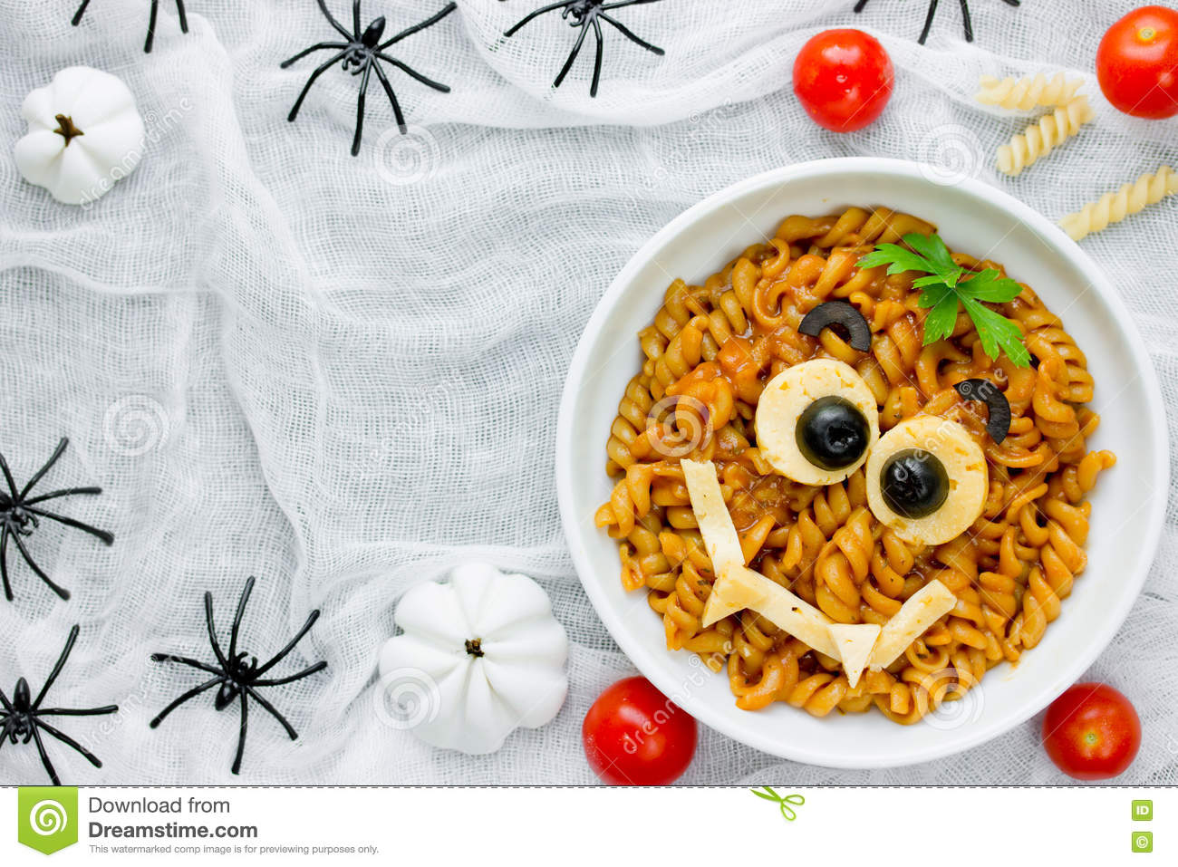 Pasta Bolognese On Halloween Party Fun Recipe For Kids To Dinner Or
