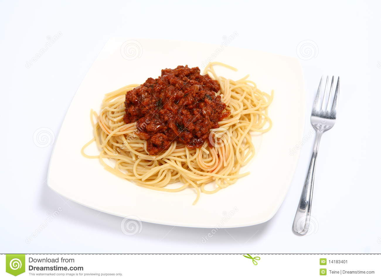 Pasta with bolognese sauce on a plate and a fork on white background.