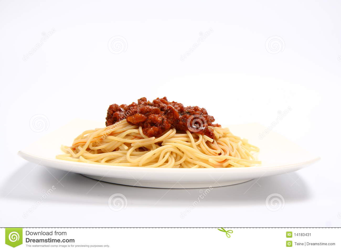 Pasta with bolognese sauce on a plate on white background.