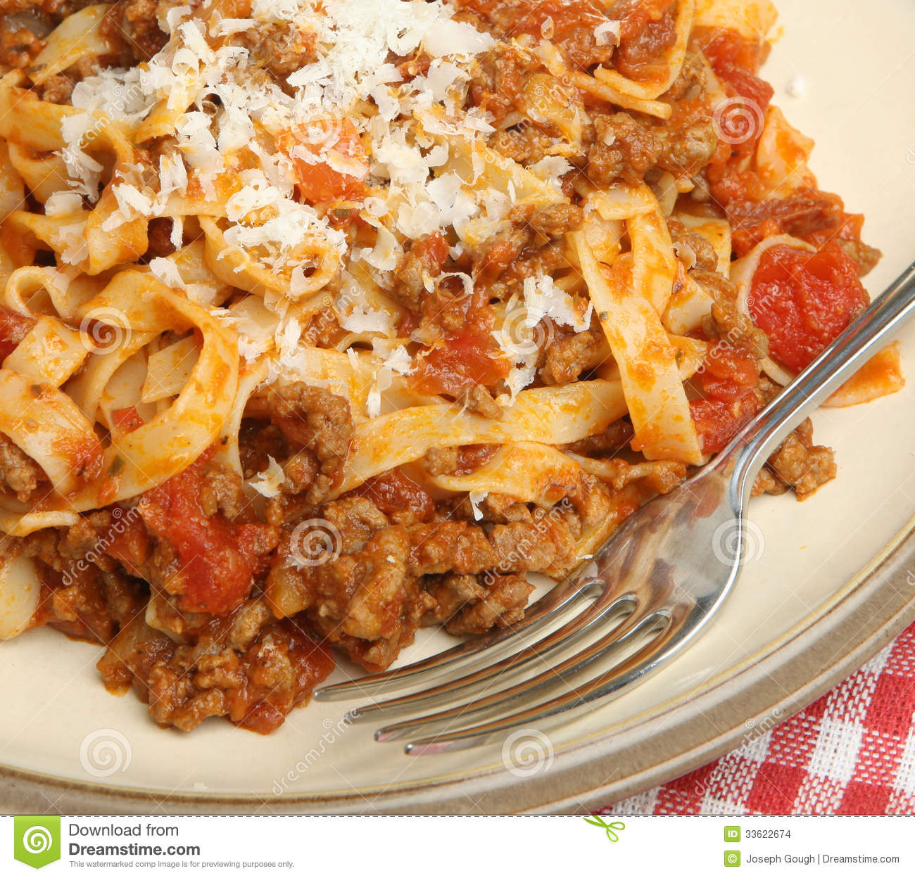 Pasta With Bolognese Sauce And Parmesan Cheese Stock Images - Image ...