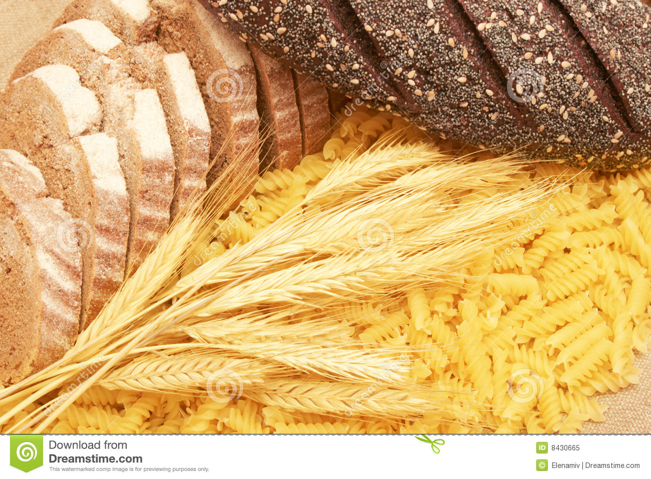 Pasta,bread and ears.