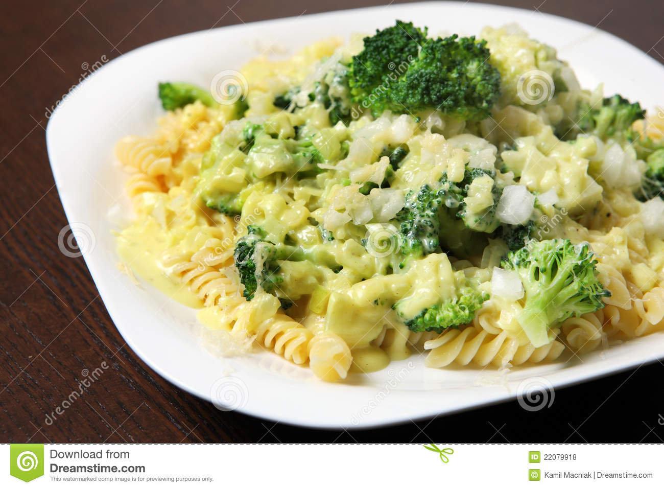 picture of fresh pasta with broccoli and beschamel sauce served on a ...