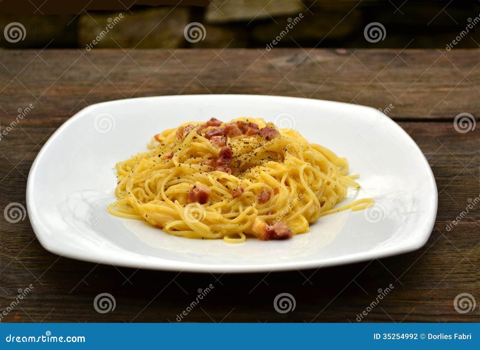 Pasta carbonara stock photography image 35254992 for Pasta romana