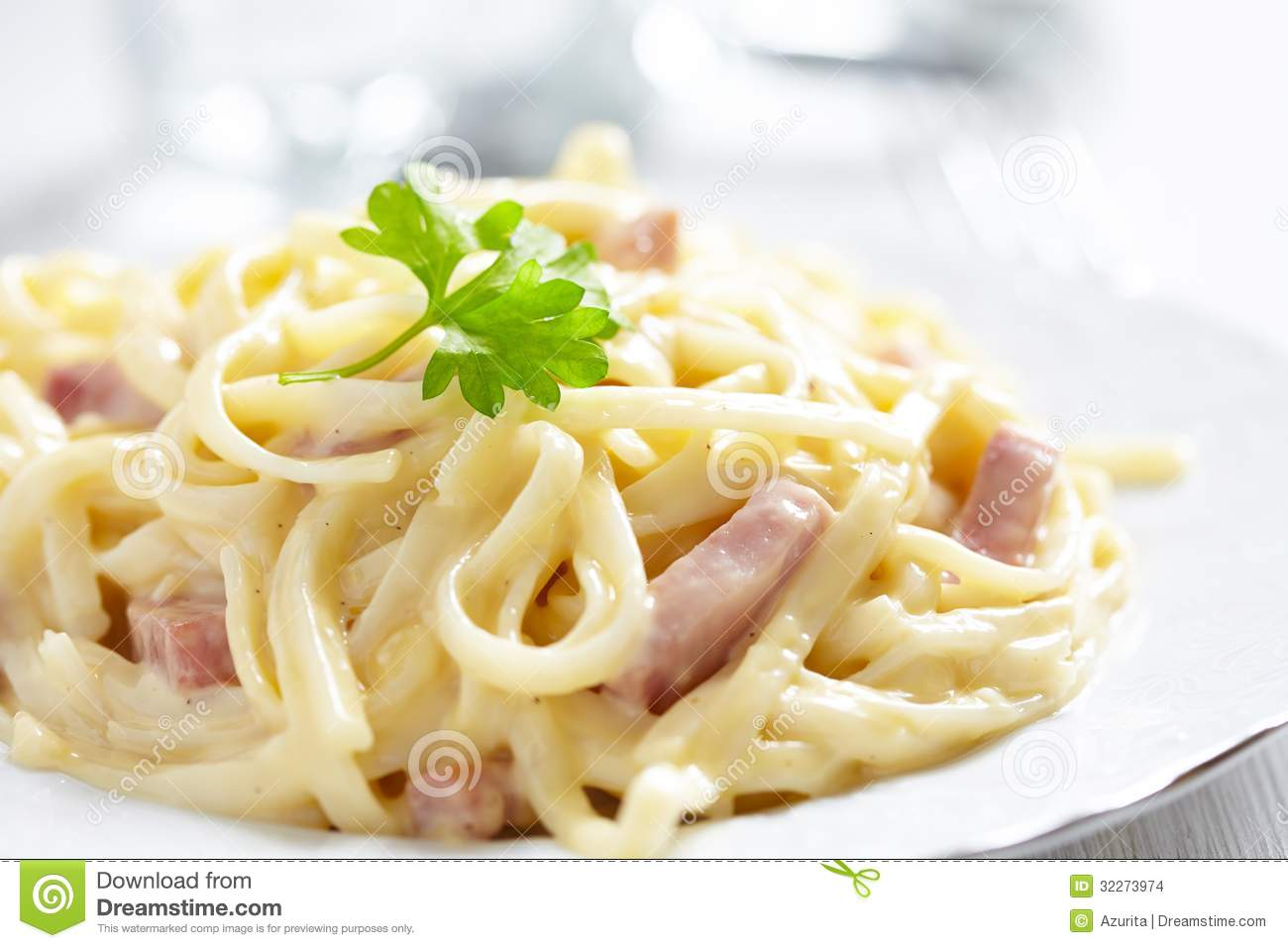 Pasta Carbonara with ham and cheese. See my other works in portfolio.