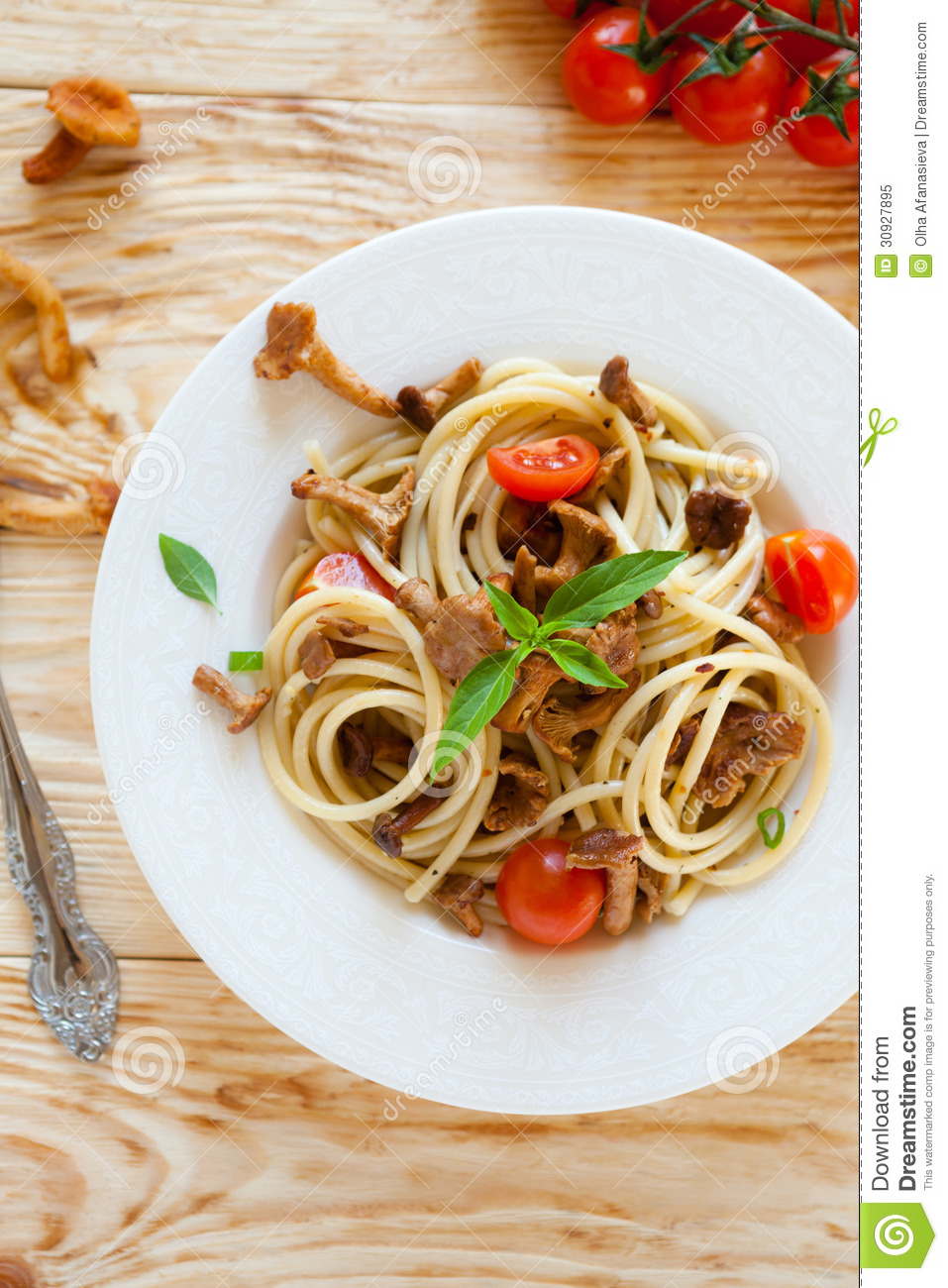 Pasta With Chanterelle Mushrooms, Top View Royalty Free ...