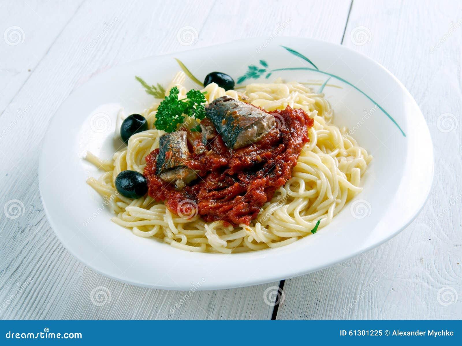 Pasta con le sarde - Sicilian dish of pasta with sardines.