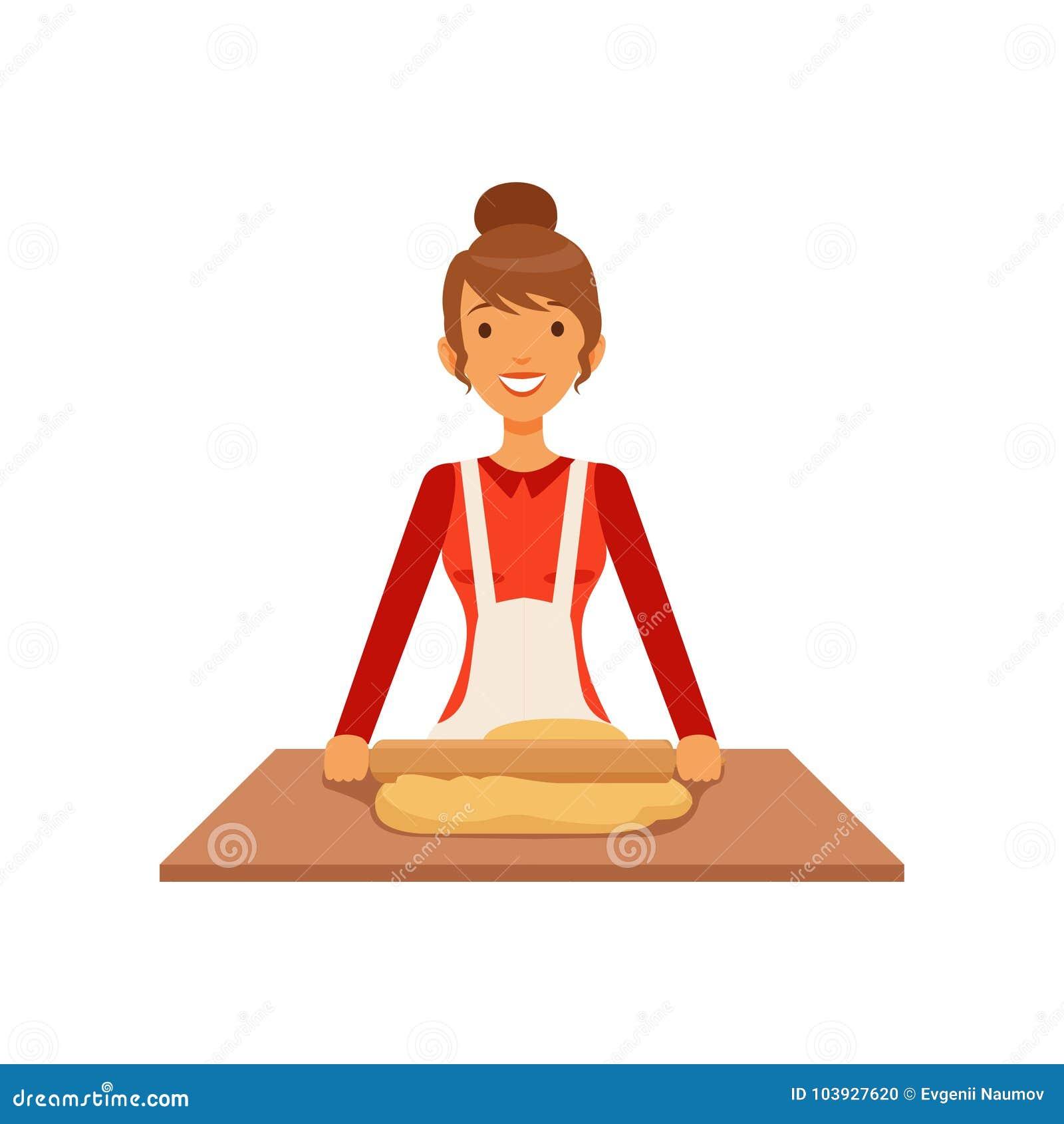 Pasta del balanceo de la mujer joven, muchacha del ama de casa que cocina la comida en el ejemplo plano del vector de la cocina