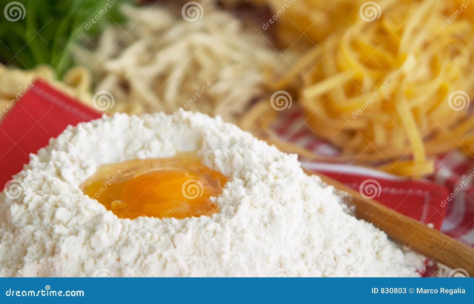 Pasta, egg, flour,