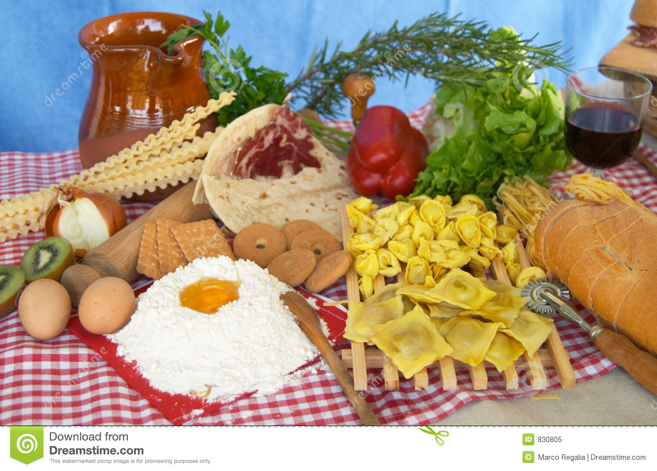 Pasta, egg, flour, biscuits, vegetables, wine