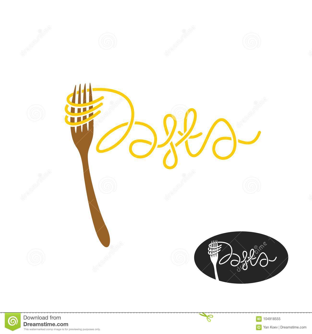 Pasta And Fork Logo Elegant Pasta Word With Fork Stock Vector Illustration Of Meal Creative 104918555