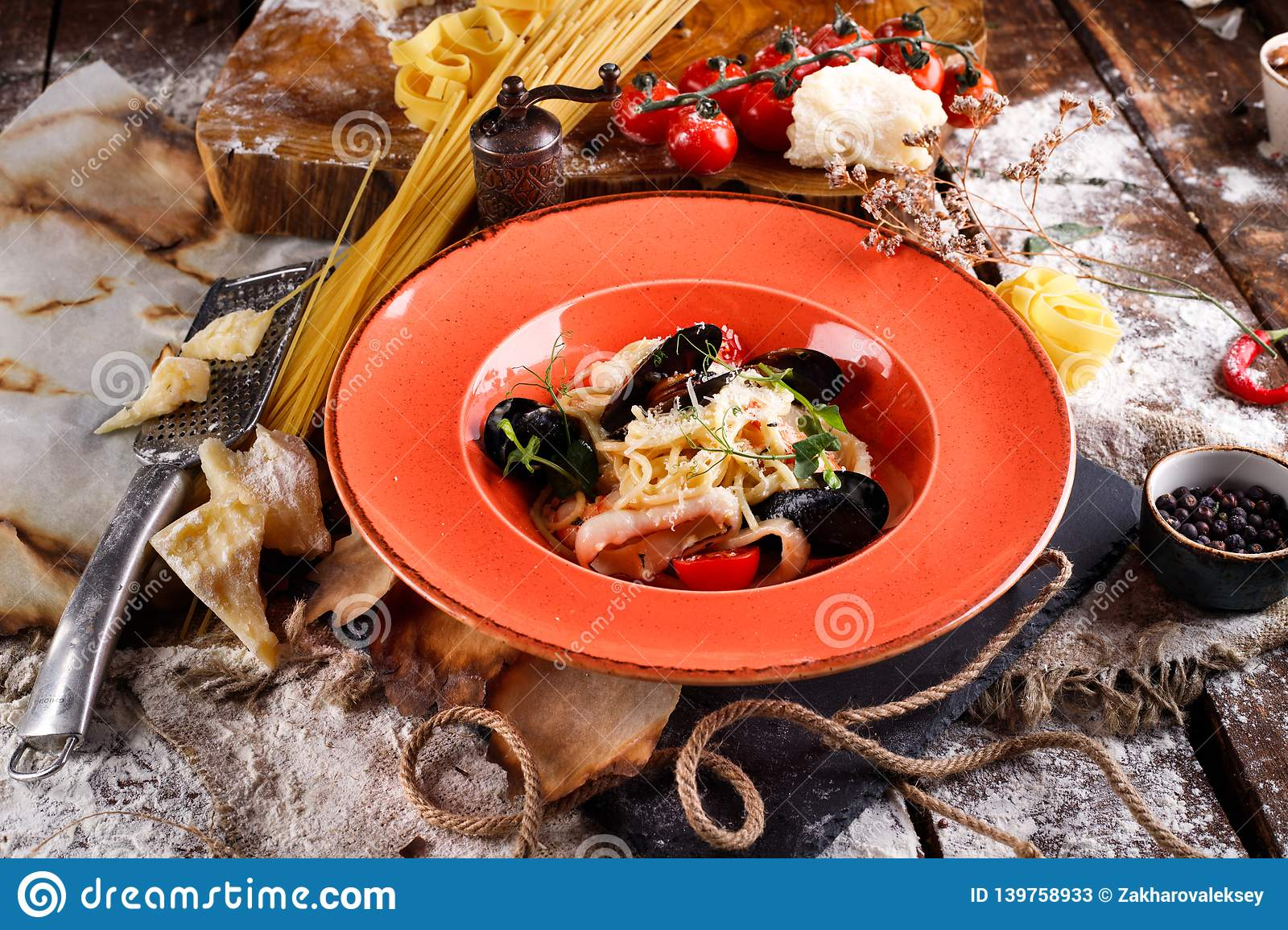 Pasta with fresh seafood, ingredients for cooking stock photos